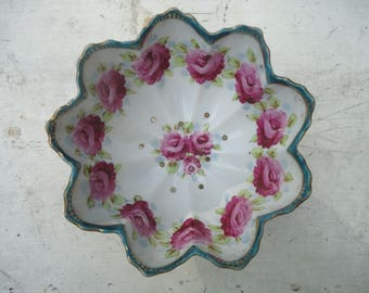 Vintage 3 Footed Nippon Pink Roses Berry Strainer