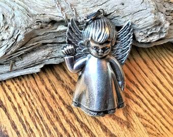 Vintage Sterling Silver Angel Necklace