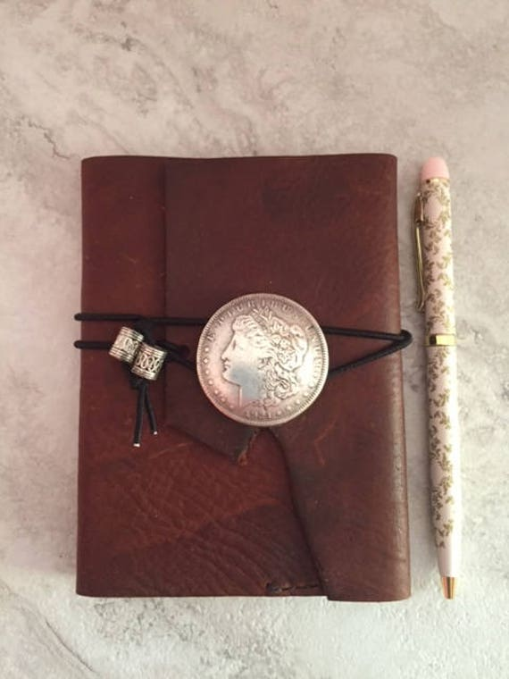 Handmade Small Leather Journal with Morgan Dollar Coin