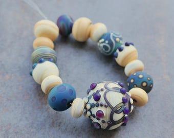 """L'atelier de jacquelina    """" Sur commande set de 16 perles en verre filé/ON ORDER 16 lampwork handmad  '"""