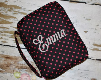 Black and Hot Pink Polka Dot Bible Case Cover, Monogrammed Bible Case