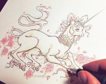 "Junicorn #5 ""The Garden Swift"" - Original Drawing on Moleskine ORIGINAL OOAK Art"