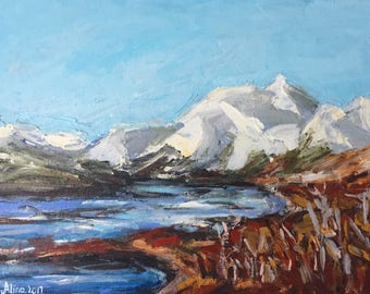 "Palette knife mountains snow lake contrast 9""x12"" original painting acrylic on canvas panel"