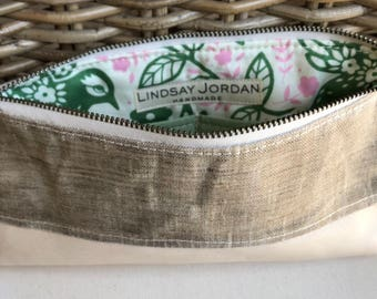 Natural off-white/BEIGE LINEN & ivory/off-white sheepskin LEATHER  wristlet pouch: seafoam green pockets | green and pink bird/floral lining