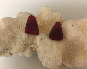 Genuine Red Sea Glass Earrings