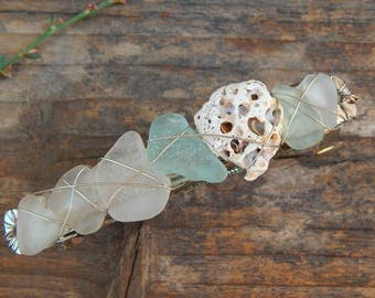 Real SEA GLASS Barrette Found Beach Treasure Hair Clips  Pitted Shells Mermaid Accessories Gifts under 30 For Her Summer Fashion Updo Bling