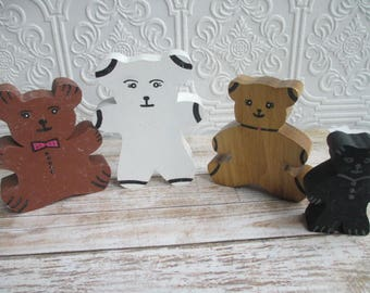 Vintage Handmade Wooden Teddy Bears Shelf Sitters Miniature set of 4  - Wood Folk Art