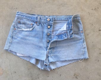 30 waist Levi's 501 Button Fly Distressed Vintage Cut Offs Denim Short Booty Shorts Jeans Women