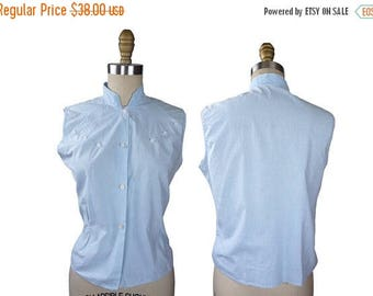 Summer Sale Late 1950s to early 1960s Baby Blue Gingham Sleeveless Blouse