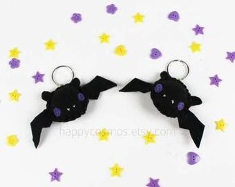 ON SALE - Black Bat Keychain - Halloween Keyring, Trick or Treat, Felt Bat, Party Favors