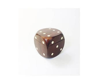 ON SALE Vintage Large Wood Dice Music Box / Jewelry Box