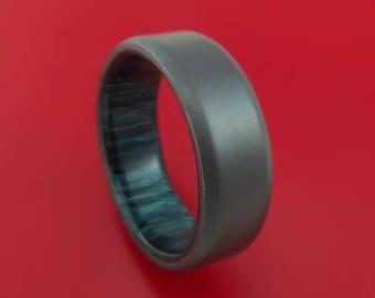 Black Zirconium and Indigo Wood Hard Wood Sleeve Ring Custom Made