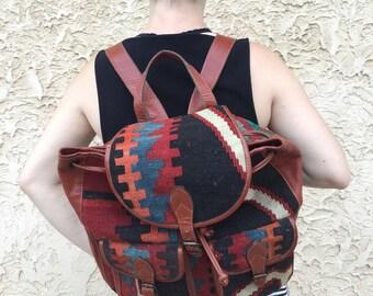 Gorgeous Vintage Turkish Kilm Carpet Wool Backpack