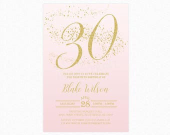 Milestone Birthday Party Invitation, Ombre Blush Pink, Gold Glitter, Personalized for any age, Printable or Printed