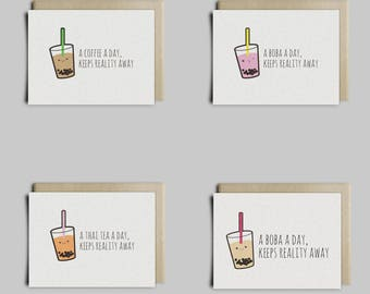 Bubble Tea, Boba Tea Greeting Card
