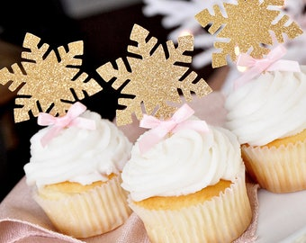 Winter Onederland Snowflake Cupcake Toppers 12CT.  Handcrafted in 2-5 Business Days.  Glitter Gold Snowflake Toppers.