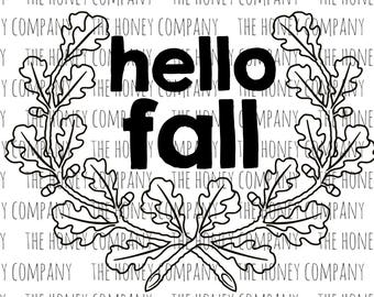 Hello Fall Floral Wreath SVG PNG DXF Leaves Instant Download Silhouette Cricut Cut Files Cutting Machine