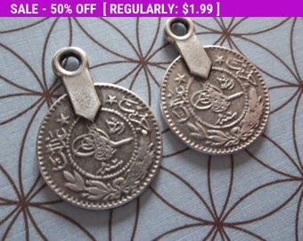 50% OFF Clearance SALE Large Sultan's Tughra Coins - Ethnic Tags - Two Sided Charms - Oxidized & Antiqued Sterling Silver Sterling