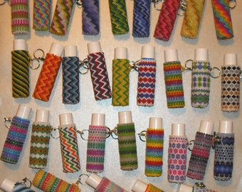 Beaded Chapstick Lip Balm Removable Cover Case Keychain Key Chain Glass Seed Beads Your Choice Lots of Colors Designs Wedding Party Favor