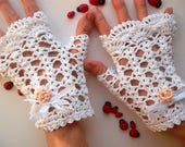 Crocheted Cotton Gloves Size M 20% OFF Ready To Ship Victorian Fingerless Summer Women Wedding Evening Cuffs Accessories Bridal Party White