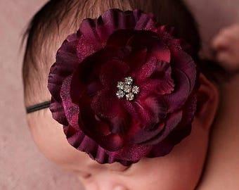 ON SALE Cranberry/ Wine Newborn headband photo prop, baby headband, girl headband, photography prop