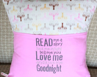 Chandelier Embroidered Reading Pillow Cover 18x18
