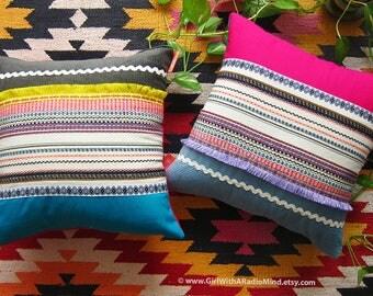 2 Decorative Pillows - Rustic Cottage Cushion Cover Boho Home Decor