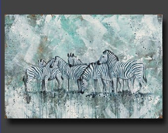 Simplicity Series - Zebra Painting - Abstract Zebra - Modern Contemporary Art - Large Art by Britt Hallowell