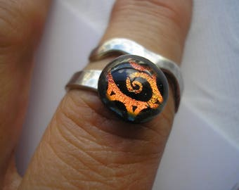 Black and Orange Ring Fused Dichroic Glass Adjustable .925 Sterling Silver Wrap Ring Iridescent Abstract Spiral Design Ring Home Crafted