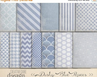 90% OFF Sale Digital Paper Pack - Digital Scrapbook Papers - Worn Dusty Blue textured, shabby chic.