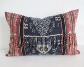 Pillow Cover Hand Woven Ikat Tribal Birds Mythology Fringe Upcycled 12 x 18 Lumbar Ready to Ship