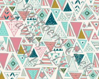 Salmon Mint Teal Mustard and Ivory Geometric Triangles 4 Way Stretch Jersey Knit Fabric, Moody by Kimberly Henrie for Club Fabrics