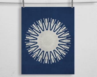 Indigo Blue Starburst Boho Tribal Print 8x10 or 11x14