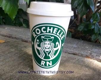 Vinyl reusable cup, nurses cup, rn cup, vinyl cup, custom cup, profession cup, fun cup, reusable coffee cup, vinyl reusable cup,