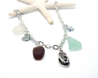Sea Glass Ankle Bracelet - Lake Erie Jewelry - Beach Glass Ankle Bracelet - Flip Flop Charm - FREE Shipping inside the United States