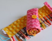 Crayon Roll-Crayon Holder-Art Supply-Art Carrier-Toddler Girl Present-Preschool Girl-Birthday Gift-Pink Chevron-Coloring-Easter Basket Toy