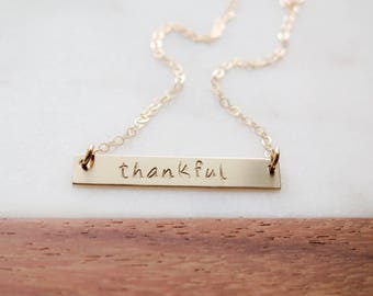 Word of the Year - Thankful Necklace - 14k Gold Fill Bar Necklace - Hand Stamped Jewelry - by Betsy Farmer Designs