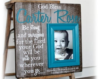 Baptism Gift Boy Frame, Baptism Gift For Godson, Be Strong and Courageous, Gifts From Godparents, Catholic, 16x16 Sugared Plums Frames