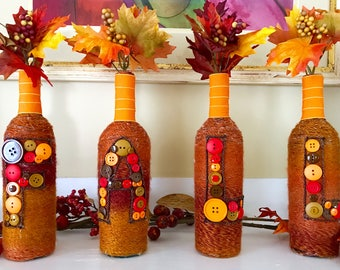 Fall Bottle Decor, Rustic Home Decor, Farmhouse Decor, Thanksgiving Decor, Country Home Decor, Autumn Decor, Wine Bottle Decor