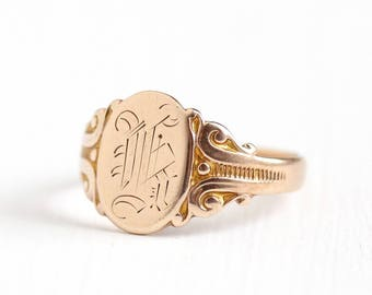 Antique 10k Rosy Yellow Gold Letter K Signet Ring - Vintage 1900s Edwardian Size 6 1/2 OB Ostby Barton Fine Art Nouveau Initial Jewelry