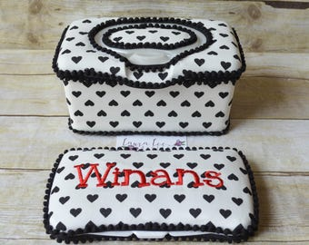 Set of 2, Large Nursery Wipe Case and Travel Baby Wipe Case Gift Set, Black Hearts on White, Baby Shower Gift, Wipe Holder, Diaper Clutch