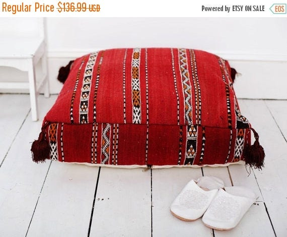 25% OFF Autumn Sale// 30 PercentOff Sale Home Gift | Vintage Kilim Moroccan Floor Cushion Pouf -home gifts, wedding gifts, anniversary gifts
