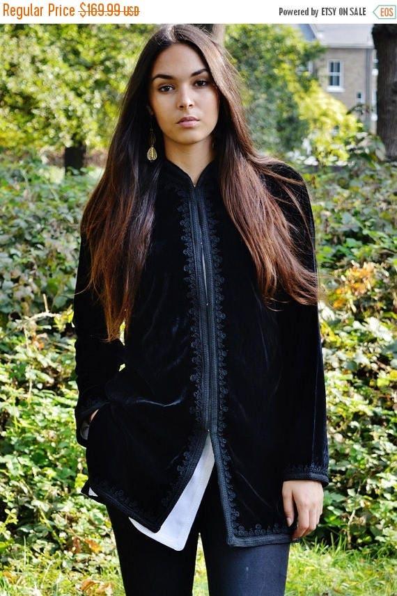 Autumn Dress 20% OFF/ Black Velvet Luxury Jacket with Black Embroidery-Nadia-boho wear, birthday gifts, casual wear