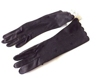 SHALIMAR Gloves in Black, Midlength Nylon, Made in Philippines, 7 1/2, Unworn