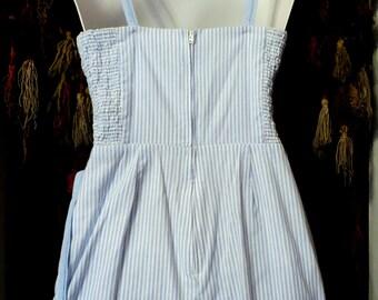 Adorable 50s Striped Cotton Romper/Bathing Suit