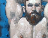 Cerulean and Ginger, oil on canvas panel 16x2 inches by KennEy Mencher