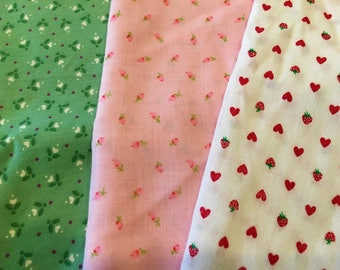 Vintage Fabric Lot of 3 Prints Hearts Rosebuds Strawberries Pink Mint Green Red
