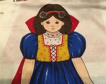 Snow White Vintage Stuff Sew Fabric Cranston Print Doll