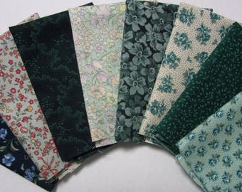 8 Assorted Green Calico Cotton Fabric Scraps, Fat Sixteenths, Fabric Remnants, Quilting, Sewing