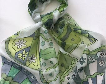 Green Fans Hand painted Silk Scarf.  Decorative fans scarf.  Silk scarf hand painted.